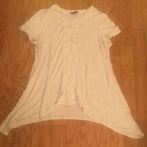 Adrianna Papell Solid Beige Short Sleeve Top